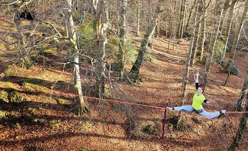 emie en highline slack line slack mountain